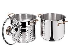Beper 7L Spaghetti Pot Set, Stainless Steel Silver, 28.5 x 26 x 28 cm