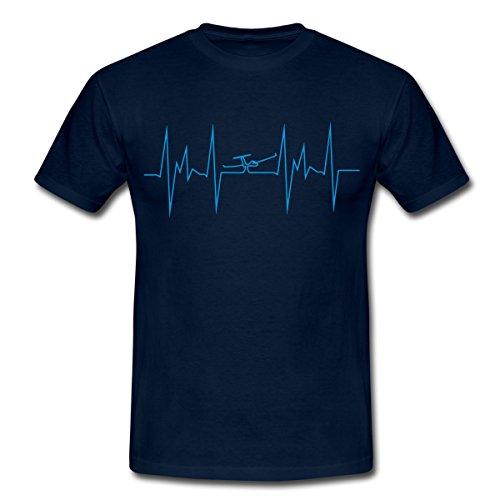 Spreadshirt Segelfliegen Herzschlag Segelflugzeug Segelflieger Männer T-Shirt, M, Navy