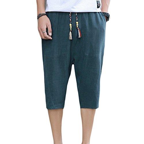 YuanDian Mens Summer Casual 3/4 Cotton Linen Capri Shorts Elastic Waist Drawstring Pockets Loose Fit Thin Solid Color Bermuda Three Quarter Length Pants