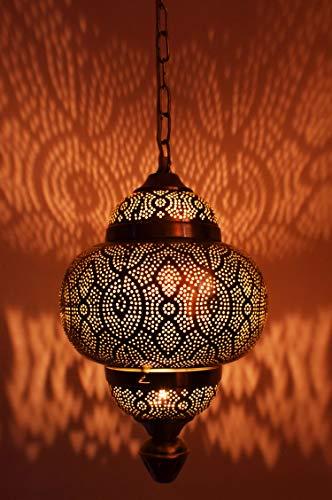 Orientalische Lampe Pendelleuchte Kayla 39cm Silber E27 Lampenfassung | Marokkanische Design Hängeleuchte Leuchte | Orient Lampen für Wohnzimmer, Küche oder Hängend über den Esstisch