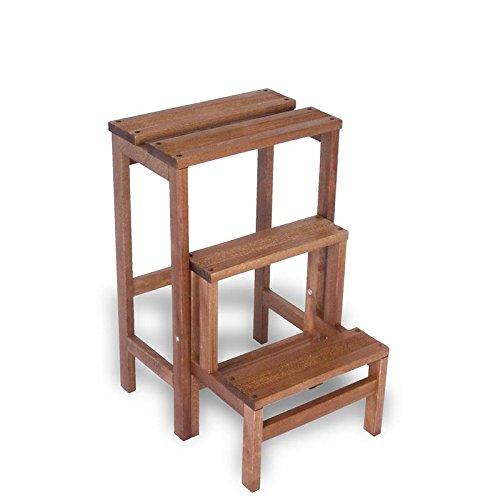 Liberoshopping sgabello scaletta 3 gradini richiudibile legno faggio noce