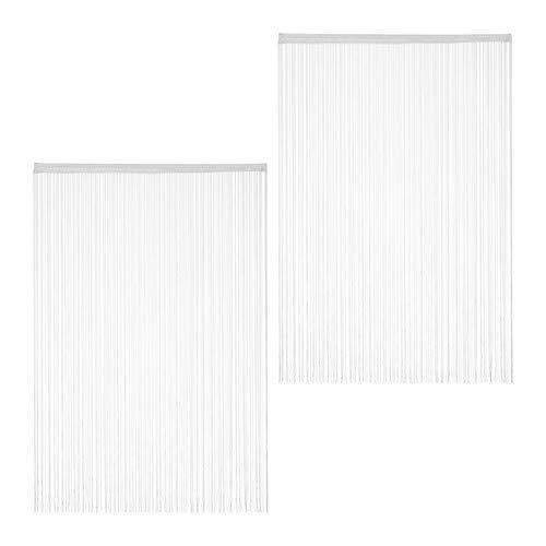 Relaxdays Fadenvorhang weiß, 2er Set, kürzbar, mit Tunneldurchzug, für Türen & Fenster, Fadengardine, 145x245 cm, White