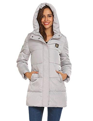 SOTEER Damen Winterjacke Steppjacke Leicht Baumwoll Wattierte Jacke Mit Kapuzen Casual Cool Stil Jacket Warm Outwear Hellgrau-TYP2