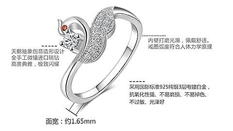 SaySure - 925 Real Sterling Silver Elegant Women Swan Ring (SIZE : 7)