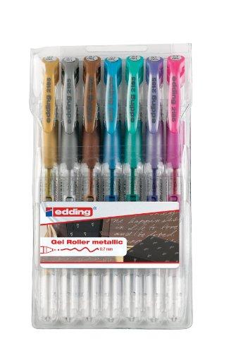 Edding 2185 - Penna Cristaljelly, colori metallizzati assortiti (Confezione da 7)