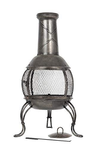 La Hacienda Leon Mesh Steel Chimenea Medium, Bronze Effect, 56156