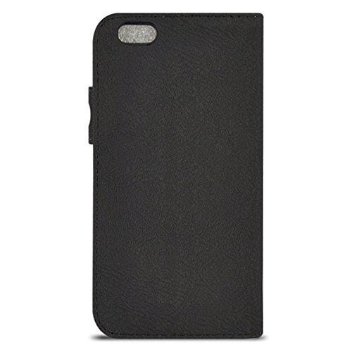 Wkae Case Cover und fühlen sich horizontale flip magnetische button lederetui mit kartenschlitz &holderfor iphone 6 &65 ( Color : Dark Blue ) schwarz