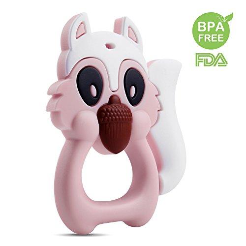 Jouet de dentition de bébé AiKiddo Squirrel bébé Jouets de dentition Soft Silicone BPA libre, approuvé par la FDA pour les bébés, les nourrissons et les tout-petits, durable et congélateur convivial (rose)