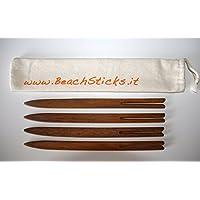 BeachSticks - particolari picchetti di legno che fermano il pareo/telo mare alla sabbia perché sia sempre teso anche in caso di vento!