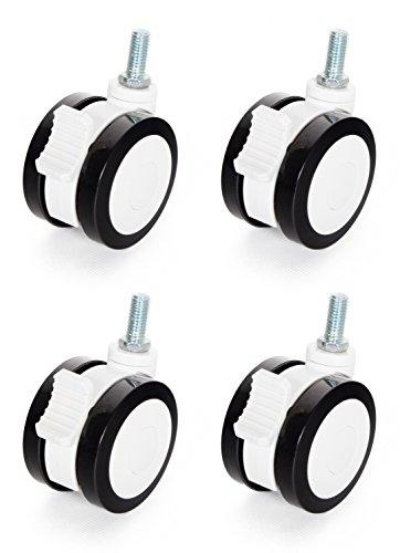 RICOO Möbelrollen mit Bremse WMZ001 75mm Durchmesser 360 Grad Drehbar Set aus 4 Stück | Rollen für Möbel Schwenkrollen Lenkrollen Feststeller Klein Kunststoff Schwarz Weiß