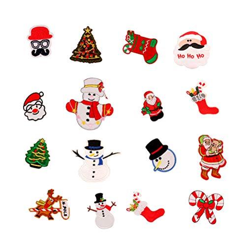 Healifty Weihnachten Patch Schneemann Sticker DIY Kleidung Patches Aufkleber 16 Stück