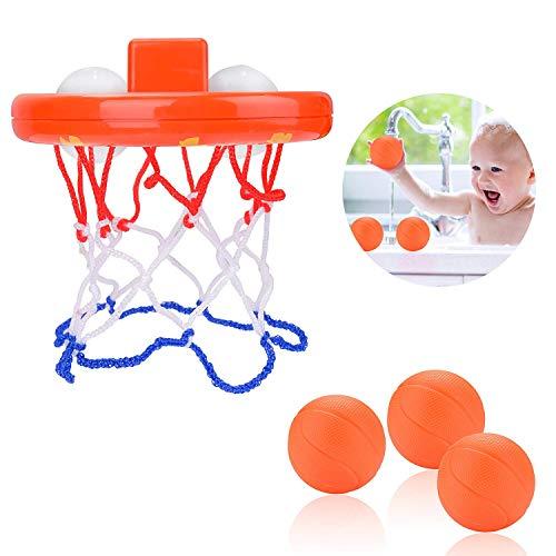 Baby Bad Spielzeug Basketballkorb,Mini Badewannenspielzeug Kinder Basketballkorb & Bälle Set Badezimmer Badespielzeug mit Saugnapf für Kleinkinder Baby Jungen Mädchen 3+ Jahre 3 Bälle