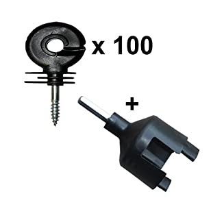 100 x RING Electric Fence Fencer Energiser Screw In Insulators + Chuck Tool 100 x RING Electric Fence Fencer Energiser Screw In Insulators + Chuck Tool 41a5nrrAA4L