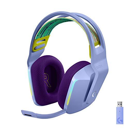 Oferta de Logitech G Auriculares con Micrófono Inalámbricos Logitech G733 para Gaming con Diadema con Suspensión, Lightspeed, RGB Lightsync, Tecnología de Micrófono Blue VO!CE, Lila