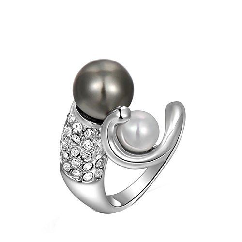 joylivecy 2016 Fashion Damen elegante Platinum Gray Pearl Ring UK Größe L 1/2 (Platinum Pearl Ring)