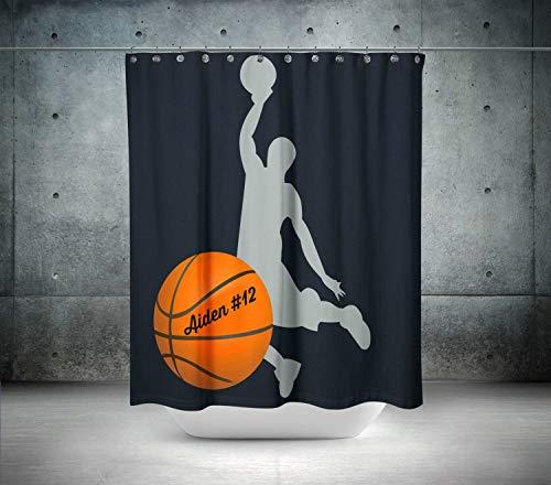YSHDNDML Rideau de Douche Personnalisable Motif Ballon de Basket