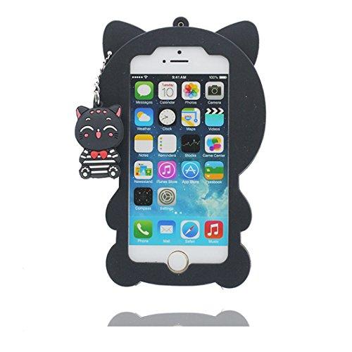 iPhone 5 5S Cover Housse, iPhone 5C 5G SE Coque, TPU Case poussière glissement résistant aux rayures (3D Cartoon ours Honey) Noir