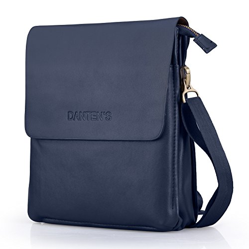 (Ledertasche Herren, Often Echt Leder Aktentasche klein Arbeitstasche Schultertasche Umhängetasche mit Schultergurt Messenger Bag für Tablet iPad)