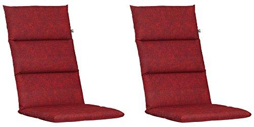 2 Hochlehner Auflagen Kettler Dessin 862 in rot 120 x 48 x 6 cm
