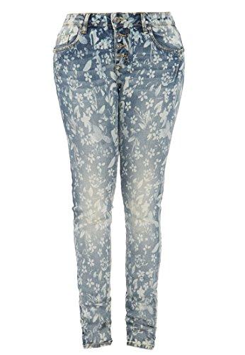BLUE MONKEY Skinny-Fit Jeans mit Blumen-Print Alexis 1267 Damen Skinny Fit 1001367 (Five-pocket-jeans Floral)