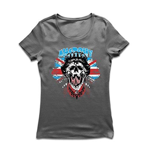lepni.me Frauen T-Shirt Anarchie-Königin, Straßenmode, anarchistisches Symbol, antipolitische Kunst (Small Graphit Mehrfarben)