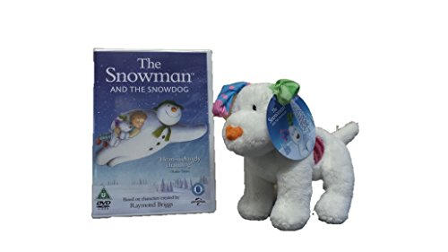 THE SNOWMAN- THE SNOW DOG PLUSH SOFT TOY 15cm WITH THE SNOWMAN AND THE SNOW DOG DVD