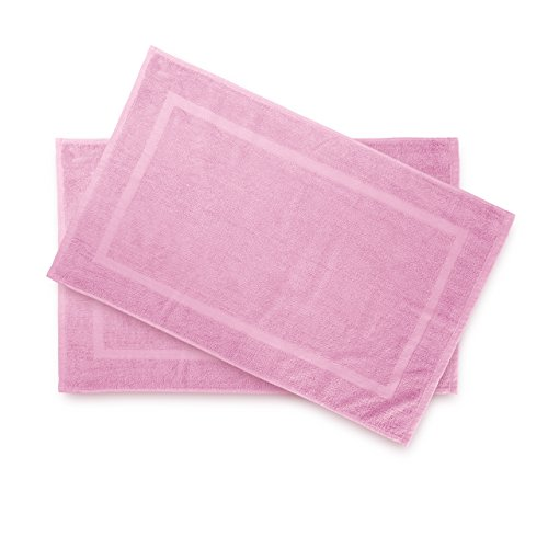 Lumaland Premium 2er Set Badematte Frottee 50 x 80 cm aus 100 % Baumwolle 650 g/m² rutschfest waschbar rosé