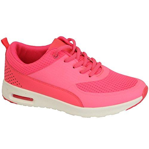 Femmes Baskets Chaussures Jogging Lacet Course Sport Gym Maille Décontracté Neuf Rose - BL265