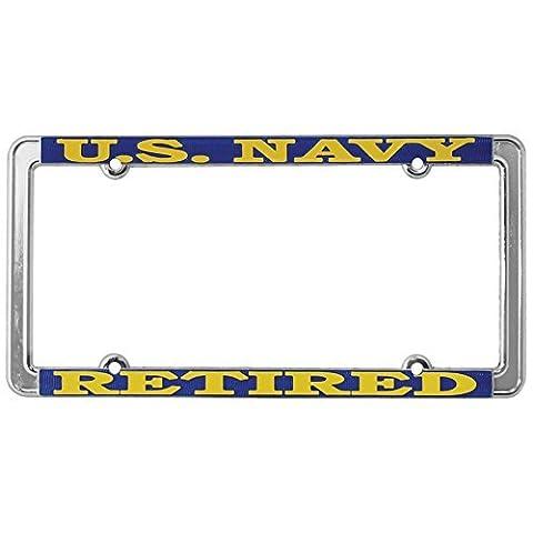 US Navy Retired Thin Rim License Plate Frame (Chrome Metal)