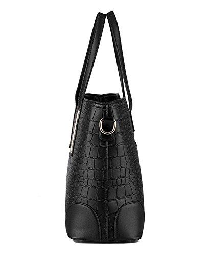 YAAGLE PU Leder Handtasche&Schultertasche+Geldbeutel Neu Damen Fashion Tote-tasche 2 pcs Beutel schwarz