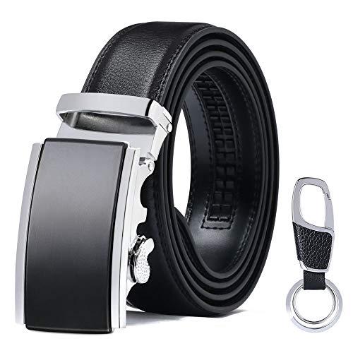 flintronic Cinturón Cuero Hombre, Cinturones Piel con Hebilla Automática,Cinturón de Negocios 3.5cm * 130cm, con Portachiavi y Confezione Regalo