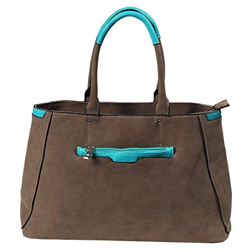Akzent Damenhandtasche, Taupe mit türkisem Kontrast (Akzent Handtasche)