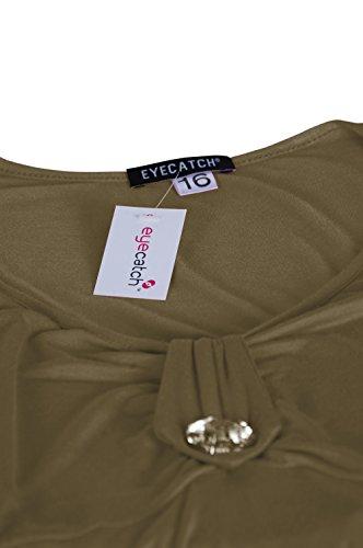 EyeCatch - Tunique manches courtes col en V - Sierra - Femme - Grandes Tailles Kaki