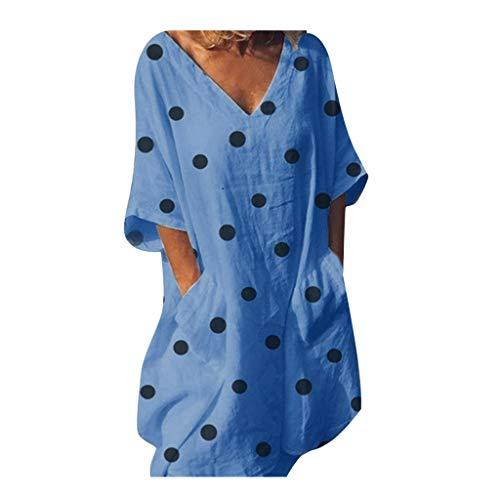 Polka Dot Pullover Kleid (Große Größe Damen Kleider Vintage Polka Dot V-Ausschnitt Sommerkleid Tunika Kurzarm T-Shirt Kleid elegant Festliche Kleider Knielang Blusekleid Cocktailkleid Minikleid Partykleid)