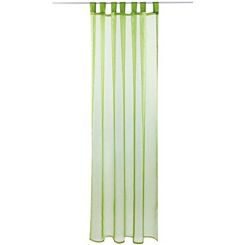 Gardine mit Schlaufen, Transparent Voile 140x145 cm (Breite x Länge) in Grün - Olivgrün, Schlaufenschal in Vielen Weiteren Farben und Größen