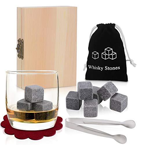 PEMOTech Whisky Steine Geschenkset , 9 Stück von besten Granit-Drink-Rocks mit 2 Untersetzer und Edelstahlpinzette, Verpackt in Einer Exklusiven Hölzernen Geschenk-Tasche und Geschmeidigen Samt-Tasche