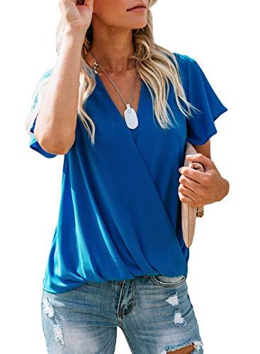 Bobopai Women V Neck Tops Loose 3/4 Bell Sleeves Blouse Solid Color Lace Patchwork Tees -