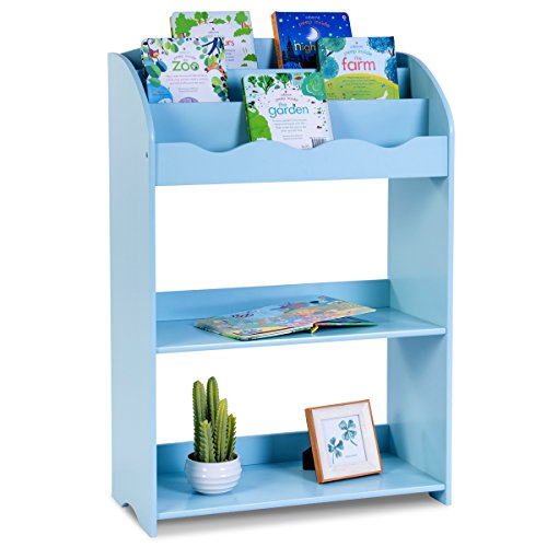 COSTWAY Bücherregal Kinder Aufbewahrungsregal Kinderregal Wandregal Spielzeugregal Wandablage Bücherschrank Regal 62x28x90cm (blau) (Baby Bücherregal)