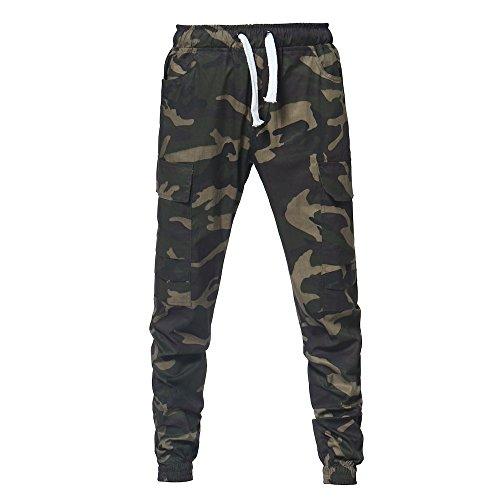 Feinny Herrenhosen Shorts Jeans/Sommer Herren Mode Casual Belted Mid-Rise Camouflage Banded Bandbreite Sporthosen/Armeegrün/M-4XL -