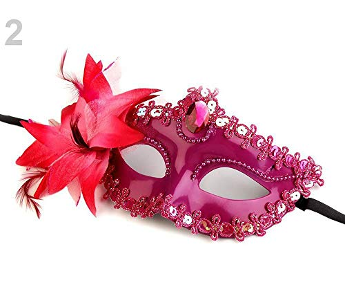 1stück 2 Lila-rosa Karnevalmaske/Maske Venezianische, Augenmasken, Party Und Accessoires, Dekoration (Lila Feder Maske Mit Pailletten)