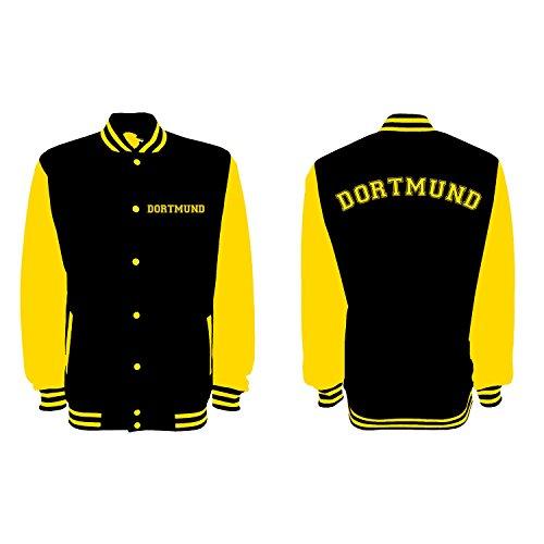 Unisex College Jacke Dortmund Fan - Brust & Rücken Bedruckt - Baseball Jacke Damen Herren XS-3XL Jet Black/Sun Yellow L