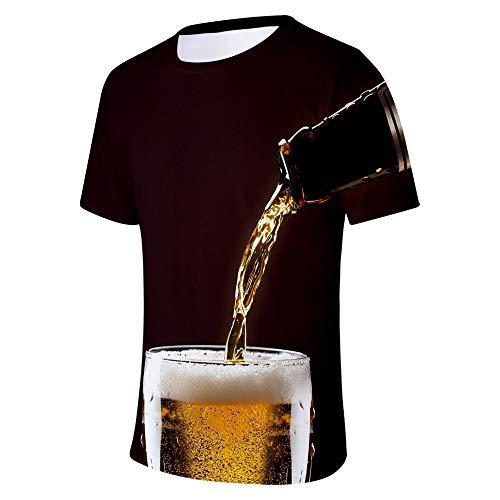 Xmiral T-Shirt Bier 3D Gedruckte Rundkragen Kurzarm/Bluse Tops für Oktoberfest Tanktop Kurzarmshirt Oberteile(a Kaffee,L)