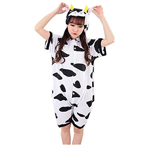 Jysport Licorne Pyjama Kigurumi Unisexe Animal Polaire à capuche Cosplay Costume Pyjama pour enfant, femme, homme Summer Cows