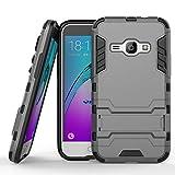 COOVY Funda para Samsung Galaxy J1 SM-J120 / SM-J120F / SM-J120F/DS (Model 2016) de plástico y Silicona TPU, extrafuerte, con protección contra Golpes, Funda con función Atril | Color Gris