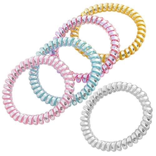 Haargummis mit Spiralen, 5 Stück, bunt, Handy-Schnur, Kunststoff-Spulen, keine Falten, Haarbänder für Mädchen, Pferdeschwanz, dehnbar, elastisch, für Frauen und Mädchen