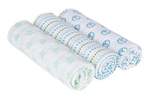 Lässig 3er Set Swaddle & Burp Blanket Puckdecke/Spuckdecke 100% Baumwolle Mulltuch weich kuschelig 85 x 85 cm, Sweet Dreams Boys (Bio-burp Tücher)