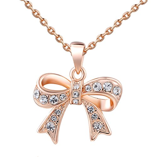 elegant-fashion-women-charm-lady-jewelry-pendant-rose-gold-beautiful-bow-chain-necklace