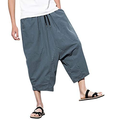 Honestyi Männer Casual Retro Solid Streetwear Drawstring Wadenlangen Hosen Haremshose A057K61 Herren Vintage Volltonfarbe chinesischen Stil Imitation Hanf beiläufige Kurze Hosen