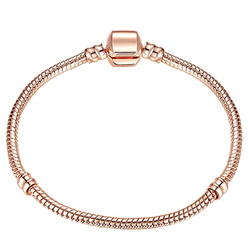Armband Armreif,Schmuck Geschenk, Dropshipping 3Mm 17-21Cm Vintage Silver Plated Snake Chain DIY Charm Bracelet Brand Bracelets Women Jewelry Rose Gold Color 17cm