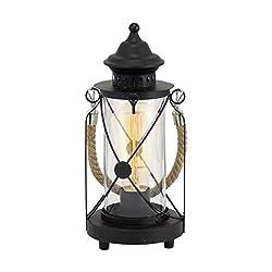 EGLO Tischlampe Bradford, 1 flammige Vintage Tischleuchte, Laterne, Nachttischlampe aus Stahl, Farbe: Schwarz, Glas: klar, Fassung: E27, inkl. Schalter